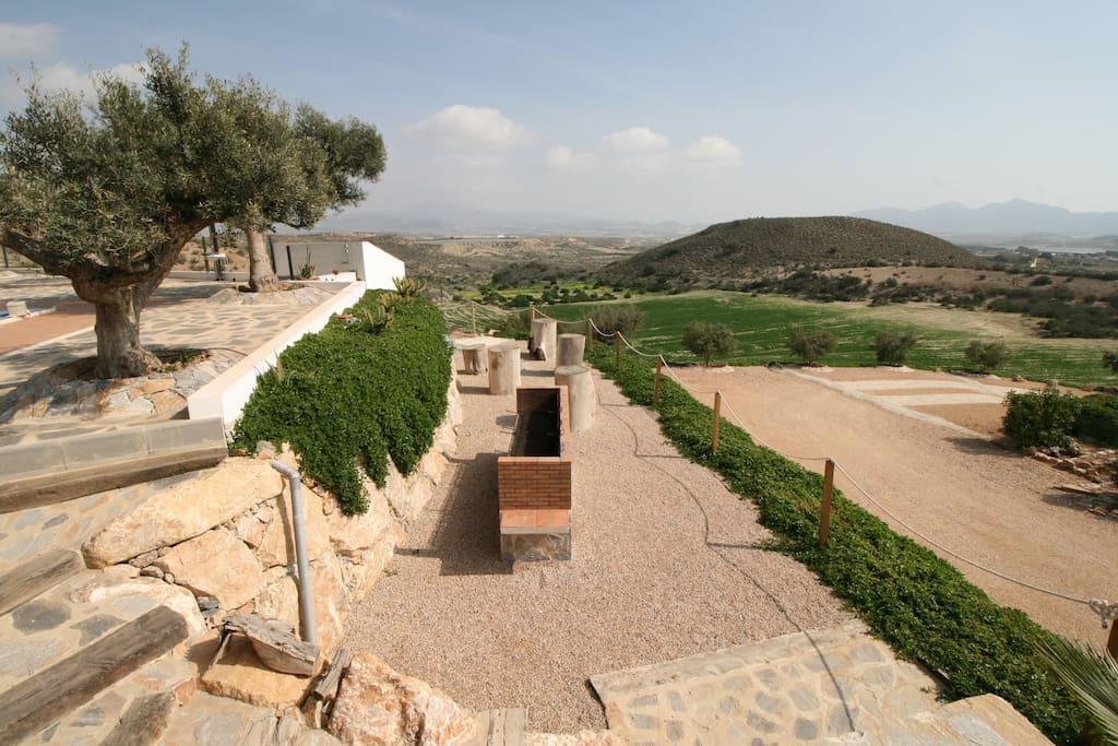 casa chalet con piscina vacaciones rural mazarron - barbacoa