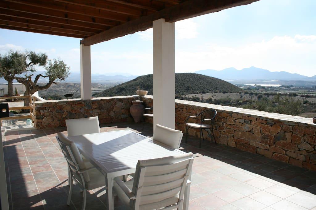 chalet casa con piscina vacaciones rural mazarron - terraza