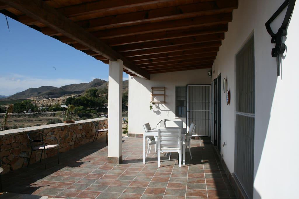 casa con piscina vacaciones rural mazarron - terraza
